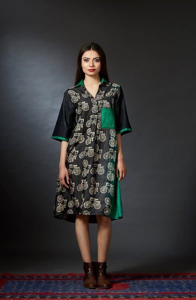 Myra - Bicycle Hand Block Printed Dress - Anuradha Ramam