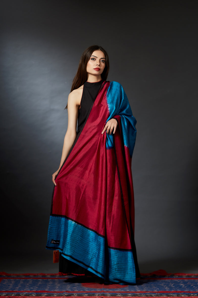 Neela - Striped and Calligraphy Hand Block Printed Dupatta