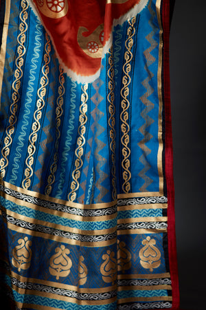 Neelima - Gold and Silver Hand Block Printed Blue Dupatta