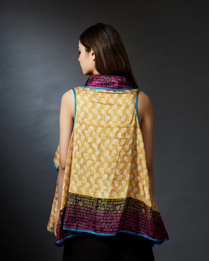 Trisha - Calligraphic Hand Block Printed Sleeveless Shrug