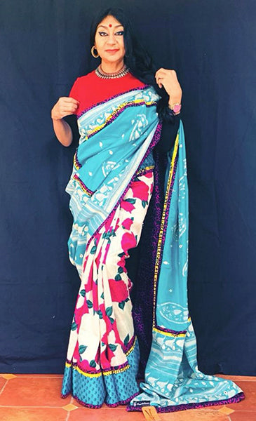 Bageecha Saree-Anuradha Ramam-Hand woven-Handblock print-Kantha Emb- Sustainable fashion- Conscious fashion- Vocal for local