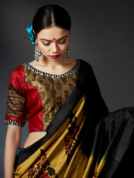 Paridhanam - Hand Block Printed Red and Gold Blouse - Anuradha Ramam