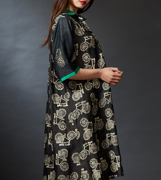 Myra - Bicycle Hand Block Printed Dress