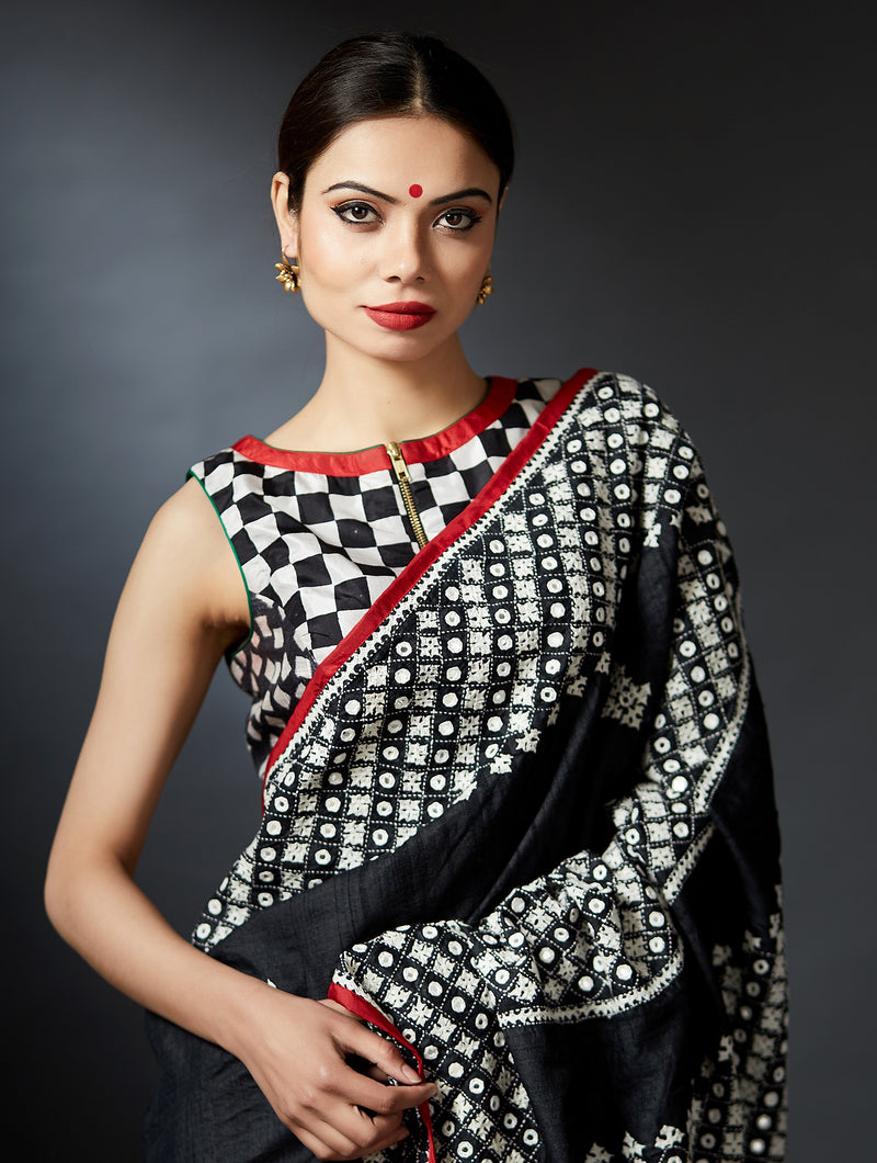 Rityanusaarh - Hand Block Printed Sleeveless Crew Neck Blouse