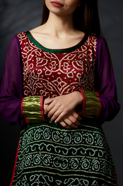 Mohini - Baandhni Layered Dress - Anuradha Ramam