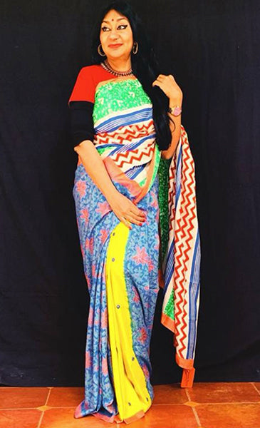 Haridrabh Saree -Anuradha Ramam-Hand woven- Hand block print - Sustainable fashion- Conscious fashion- Vocal for local