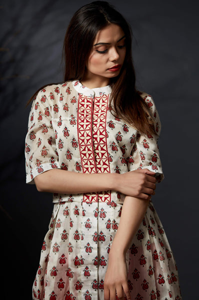 Aarunya - Hand Block Printed Kurti - White - Anuradha Ramam -Hand woven- Hand block print - Sustainable fashion- Conscious fashion- Vocal for local