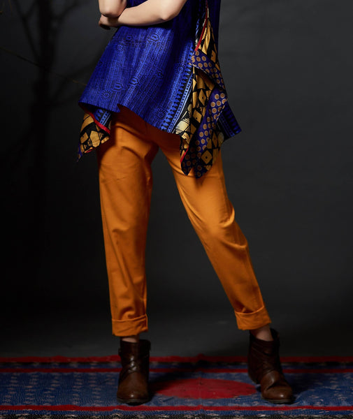 Amber Yellow Ikat Trousers - Anuradha Ramam-Hand woven- Sustainable fashion- Conscious fashion- Vocal for local
