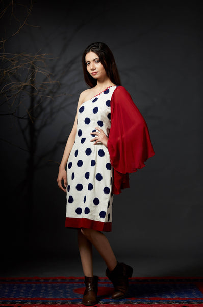 Amodini - One Shoulder Polka Dress - Anuradha Ramam-Hand woven- Sustainable fashion- Conscious fashion- Vocal for local