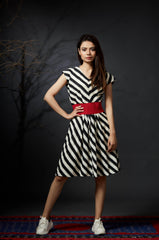 Anjali - V-neck Skater Dress - Black - Anuradha Ramam-Hand woven- Sustainable fashion- Conscious fashion- Vocal for local