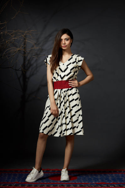 Anjali - V-neck Skater Dress - White - Anuradha Ramam-Hand woven- Sustainable fashion- Conscious fashion- Vocal for local