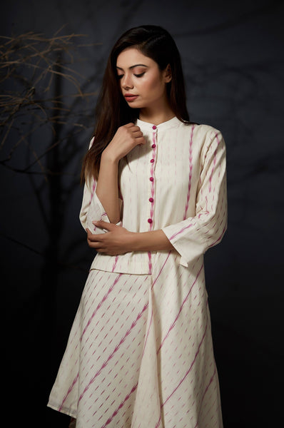 Asha - Asymmetric Shirt Dress - Off White - Anuradha Ramam-Hand woven- Sustainable fashion- Conscious fashion- Vocal for local