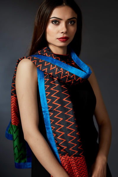 Averi - Handcrafted and Hand Block Printed Stole - Anuradha Ramam-Hand woven- Hand block print - Sustainable fashion- Conscious fashion- Vocal for local