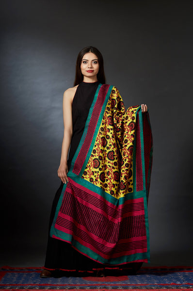 Bahar - Hand Block Printed Floral Dupatta - Anuradha Ramam-Hand woven- Hand block print -Kalamkari- Sustainable fashion- Conscious fashion- Vocal for local