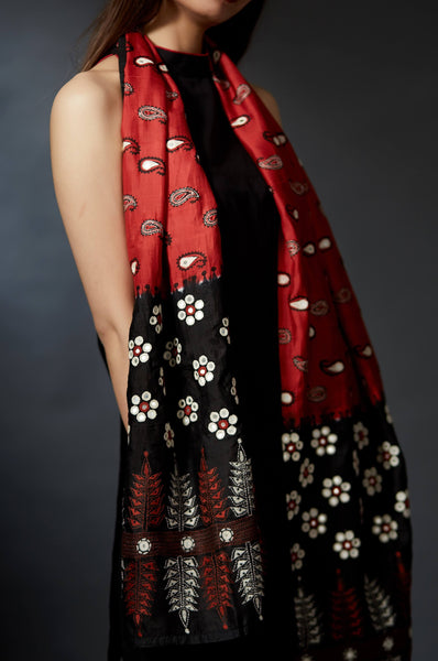Bhumi - Paisley and Floral Hand Embroidered Stole - Anuradha Ramam-Hand woven- kantha emb-Sustainable fashion- Conscious fashion- Vocal for local