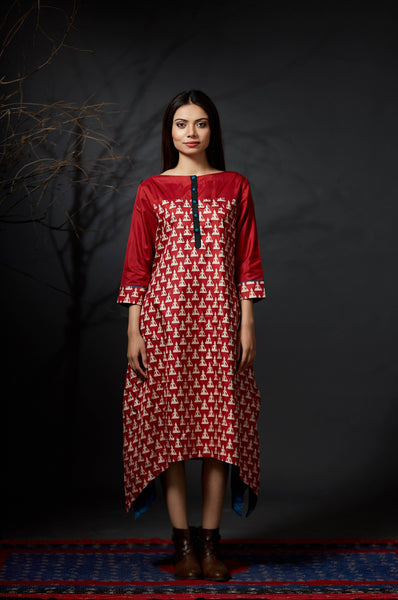 Bodhi - Hand Block Printed Dress - Anuradha Ramam- Hand woven- hand block print- Sustainable fashion- Conscious fashion- Vocal for local
