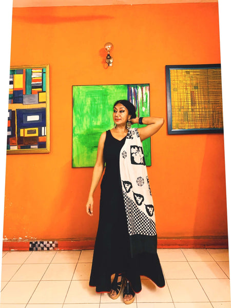 Buddha Stole - Anuradha Ramam- Hand woven- Hand block print - Sustainable fashion- Conscious fashion- Vocal for local