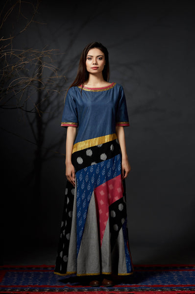Chandana - Paneled Maxi Dress - Anuradha Ramam- Hand woven- Sustainable fashion- Conscious fashion- Vocal for local
