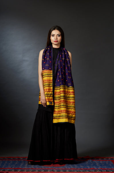 Chandrabha - Paisley Hand Embroidered and Hand Block Printed Stole - Anuradha Ramam- Hand woven- Hand block print - Sustainable fashion- Conscious fashion- Vocal for local