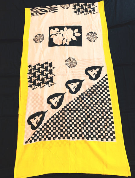 Checkmate Yellow Stole - Anuradha Ramam-Hand woven- Hand block print - Sustainable fashion- Conscious fashion- Vocal for local