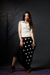 Chetna - Polka Dot Cowl Skirt - Anuradha Ramam- Hand woven- Sustainable fashion- Conscious fashion- Vocal for local