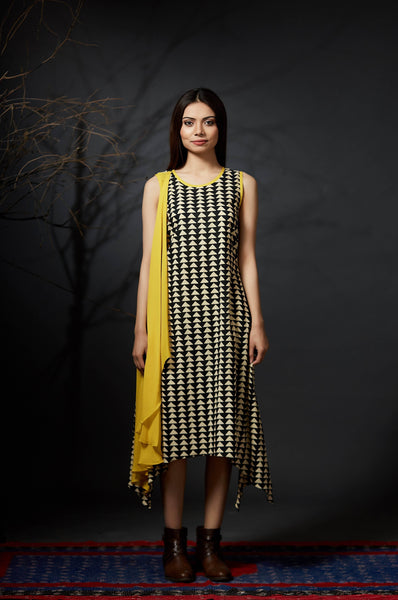 Chitrangada - Scarf Dress - Yellow - Anuradha Ramam- Hand woven- Hand block print - Sustainable fashion- Conscious fashion- Vocal for local