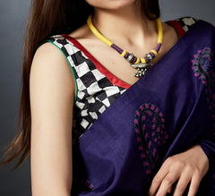 Shobhachaarh - Hand Block Printed Sleeveless Checkered Blouse