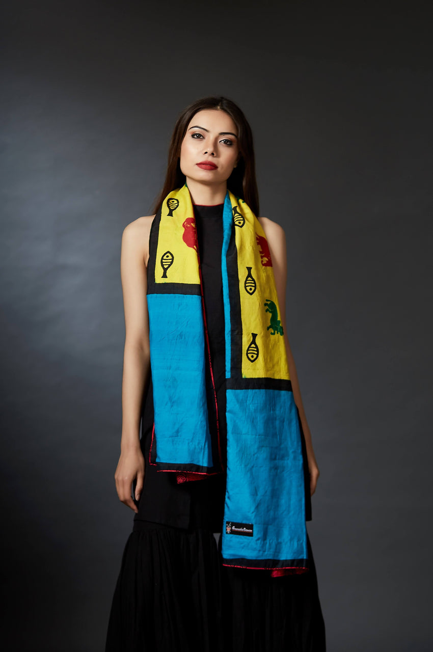 Darsatha - Animal Motif Hand Block Printed Stole - Anuradha Ramam-Hand woven- Hand block print - Sustainable fashion- Conscious fashion- Vocal for local