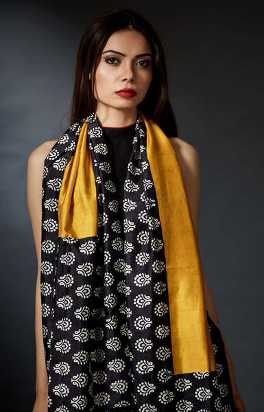 Deepa - Black and Yellow Hand Block Printed Stole - Anuradha Ramam-Hand woven- Hand block print - Sustainable fashion- Conscious fashion- Vocal for local