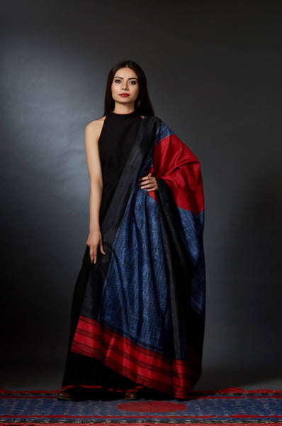 Diwaker - Sun Motif and Calligraphy Hand Block Printed Dupatta - Anuradha Ramam-Hand woven- Hand block print - Sustainable fashion- Conscious fashion- Vocal for local