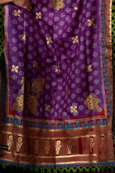 Ellora - Gold Hand Block Printed Dupatta - Anuradha Ramam-Hand woven- Hand block print - Sustainable fashion- Conscious fashion- Vocal for local