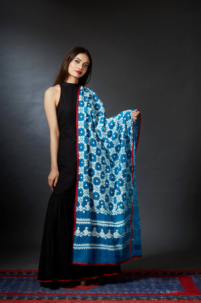 Firozi - Kutch Embroidery Mirrored Dupatta - Anuradha Ramam-Hand woven- kantha emb-Sustainable fashion- Conscious fashion- Vocal for local