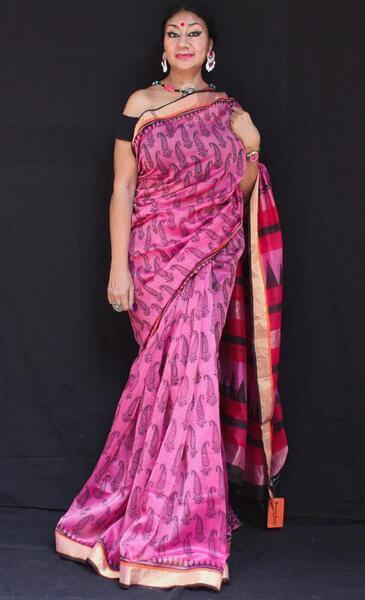 Golap phul - Anuradha Ramam-Hand woven- Hand block print - Sustainable fashion- Conscious fashion- Vocal for local