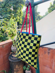 Green Silk Mirror Tote Bag - Anuradha Ramam-Hand woven- kantha emb-Sustainable fashion- Conscious fashion- Vocal for local
