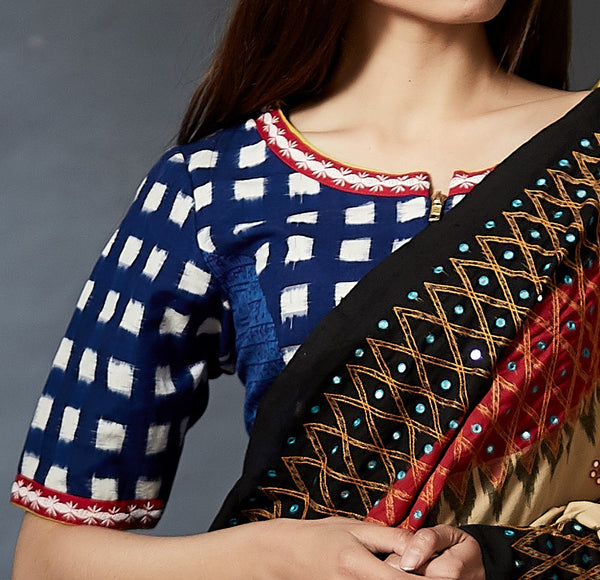Vesh-Bhusha - Hand Crafted and Hand Block Printed Ikat Blouse - Anuradha Ramam