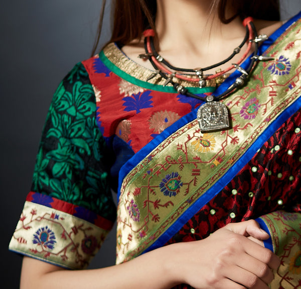 Vastrani - Hand Crafted Blouse with Zari Border - Anuradha Ramam