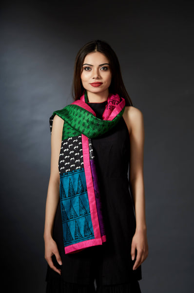 Ila - Handcrafted Mixed Prints Stole - Anuradha Ramam-Hand woven- Hand block print - Sustainable fashion- Conscious fashion- Vocal for local
