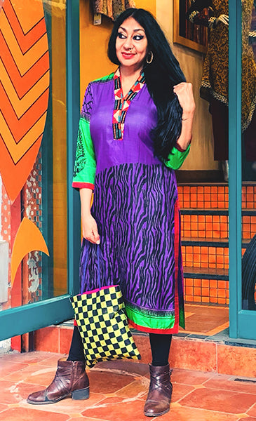 Hiral Kurta - Anuradha Ramam-Hand woven- Hand block print - Sustainable fashion- Conscious fashion- Vocal for local