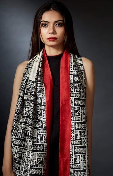 Indira - Ancient Art Hand Block Printed Stole - Red - Anuradha Ramam-Hand woven- Hand block print - Sustainable fashion- Conscious fashion- Vocal for local