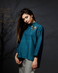 Indira - High-low Hem Top - Teal - Anuradha Ramam-Hand woven-Ikat-Emb-Sustainable fashion- Conscious fashion- Vocal for local