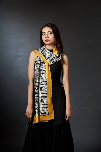 Indirani - Ancient Art Hand Block Printed Stole - Yellow - Anuradha Ramam-Hand woven- Hand block print - Sustainable fashion- Conscious fashion- Vocal for local