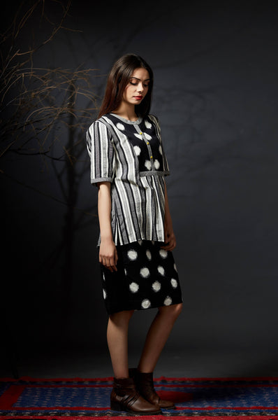 Karvi - Polka and Striped Ikat Top - Anuradha Ramam-Hand woven- Ikat-Sustainable fashion- Conscious fashion- Vocal for local