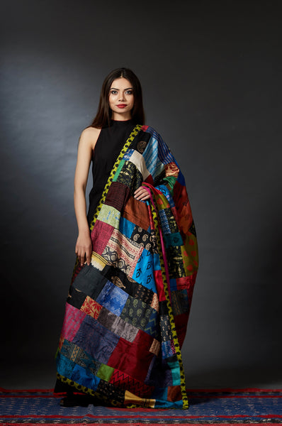 Katran - Hand Crafted Patch Dupatta - Green - Anuradha Ramam-Hand woven- Hand block print - Sustainable fashion- Conscious fashion- Vocal for local