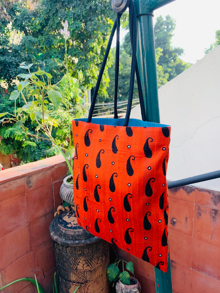 Orange Silk Mirror Tote Bag - Anuradha Ramam