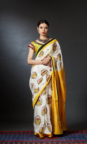 Shakti - Hand Block Printed Mirror Embroidery Durga Saree