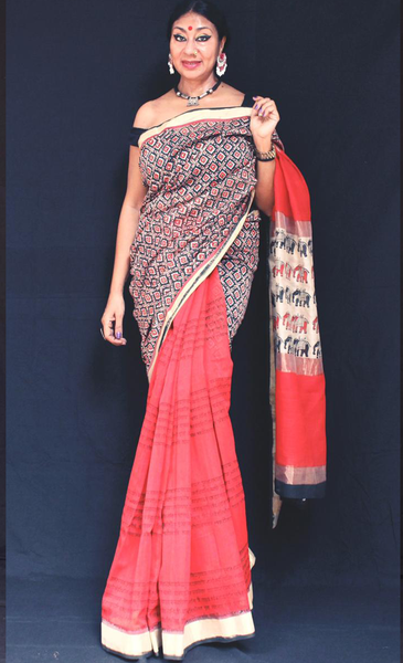 red black saree Tumi aar aami