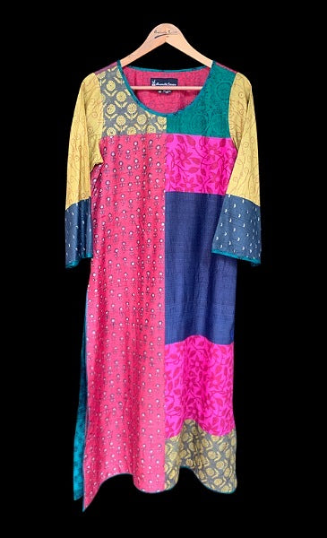 Bahaar patchwork kurta - Anuradha Ramam-Hand woven- Handblock print- Sustainable fashion- Conscious fashion- Vocal for local