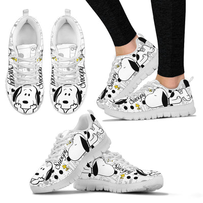 Snoopy White Pattern Sneakers