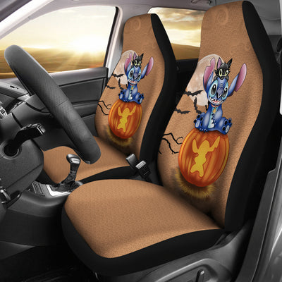 Stitch and Cat Halloween Car Seat Covers