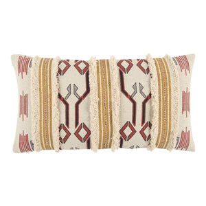 decorative beige/red lumbar 14 x 26